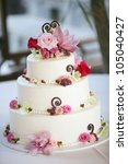 Pink And White Wedding Cake...