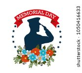 happy memorial day with... | Shutterstock .eps vector #1050416633