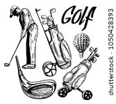 set of golf objects. hand drawn ... | Shutterstock .eps vector #1050428393