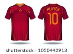 soccer jersey template. red and ...   Shutterstock .eps vector #1050442913