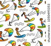 kiteboarding  seamless pattern... | Shutterstock .eps vector #1050495353