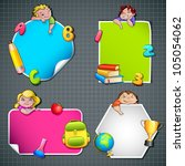 vector illustration of collection of back to school template with kids and object - stock vector