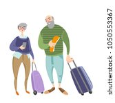 elderly people travel together. ... | Shutterstock .eps vector #1050553367