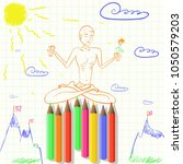 drawing yoga sitting on sharp... | Shutterstock .eps vector #1050579203
