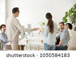 company boss introducing new... | Shutterstock . vector #1050584183
