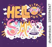 hello summer concept with... | Shutterstock .eps vector #1050596567