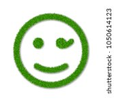 green grass face wink smile.... | Shutterstock .eps vector #1050614123