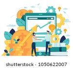 vector illustration on white background. business porters a successful team. The investor holds money in ideas. financing of creative projects. woman and man business handshake | Shutterstock vector #1050622007