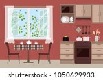 table with chairs near an open... | Shutterstock .eps vector #1050629933