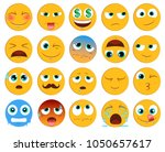 emoticons or smiley icons set... | Shutterstock .eps vector #1050657617