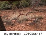 barbed wire rusted wooden fence ... | Shutterstock . vector #1050666467