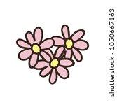 doodle flowers in shape of... | Shutterstock .eps vector #1050667163
