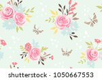 seamless pattern with flowers... | Shutterstock .eps vector #1050667553