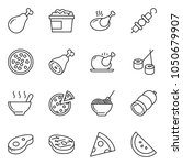 thin line icon set   sausage... | Shutterstock .eps vector #1050679907