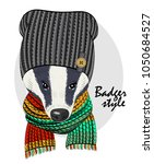 vector badger with grey knitted ... | Shutterstock .eps vector #1050684527
