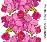 vector seamless flower pattern... | Shutterstock .eps vector #1050703667