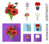 a bouquet of fresh flowers... | Shutterstock .eps vector #1050706517