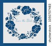 lasercut spring flower frame.... | Shutterstock .eps vector #1050707483