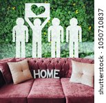 Small photo of Greenpeace concept with heart symbol. Soft comfortable sofa. Hygge. Home. Pink sofa made of velour on natural background.
