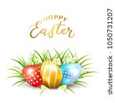 colorful easter eggs in grass... | Shutterstock .eps vector #1050731207