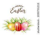 three colorful easter eggs in... | Shutterstock .eps vector #1050731213
