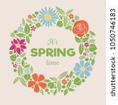 welcome spring   poster with... | Shutterstock .eps vector #1050746183