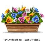 wooden flower pot with...   Shutterstock .eps vector #105074867