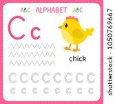 alphabet tracing worksheet for... | Shutterstock .eps vector #1050769667
