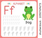alphabet tracing worksheet for... | Shutterstock .eps vector #1050769673