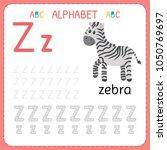 alphabet tracing worksheet for... | Shutterstock .eps vector #1050769697