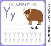 alphabet tracing worksheet for... | Shutterstock .eps vector #1050769703