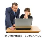 Co-workers having business problems isolated on a white background - stock photo