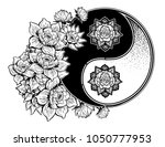 yin and yang symbol with lotus... | Shutterstock .eps vector #1050777953