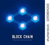 blockchain technology 3d... | Shutterstock .eps vector #1050804203