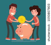 illustration of saving couple... | Shutterstock .eps vector #1050807803