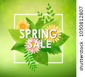 spring sale background banner... | Shutterstock .eps vector #1050812807