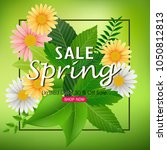 spring sale background banner... | Shutterstock .eps vector #1050812813