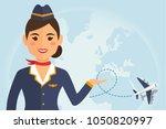 stewardess woman in uniform...   Shutterstock .eps vector #1050820997