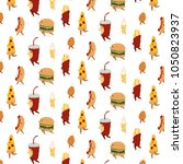 vector pattern with pizza...   Shutterstock .eps vector #1050823937