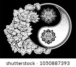 yin and yang symbol with lotus... | Shutterstock .eps vector #1050887393