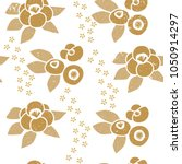 floral pattern vector. gold... | Shutterstock .eps vector #1050914297