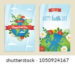 happy earth day greeting card... | Shutterstock .eps vector #1050924167