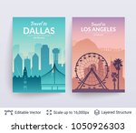 dallas and los angeles famous... | Shutterstock .eps vector #1050926303