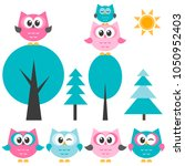 cute owls set and trees | Shutterstock .eps vector #1050952403