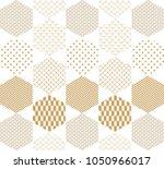 gold japanese pattern vector.... | Shutterstock .eps vector #1050966017