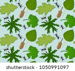 summer floral pattern with... | Shutterstock .eps vector #1050991097