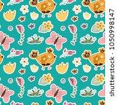 seamless spring vector pattern. ... | Shutterstock .eps vector #1050998147
