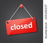 red closed hanging sign   Shutterstock .eps vector #105100157