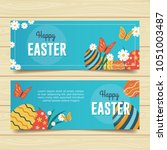 happy easter banners   Shutterstock .eps vector #1051003487