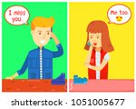 guy and girl character calling... | Shutterstock .eps vector #1051005677